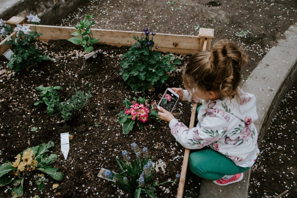 young girl gardening flowers and herbs