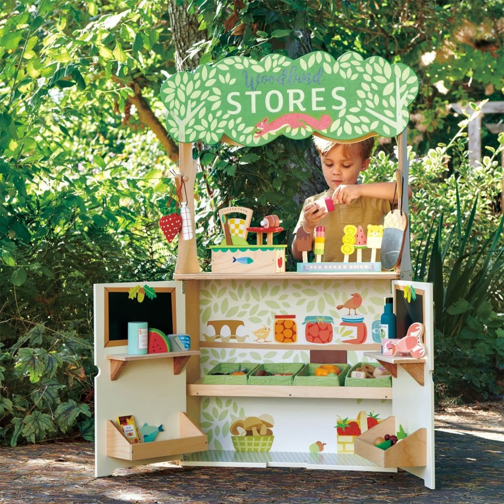 Tender Leaf Toys Woodland Stores and Theater Pretend Play Set