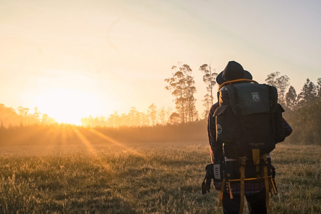 Person backpacking in nature