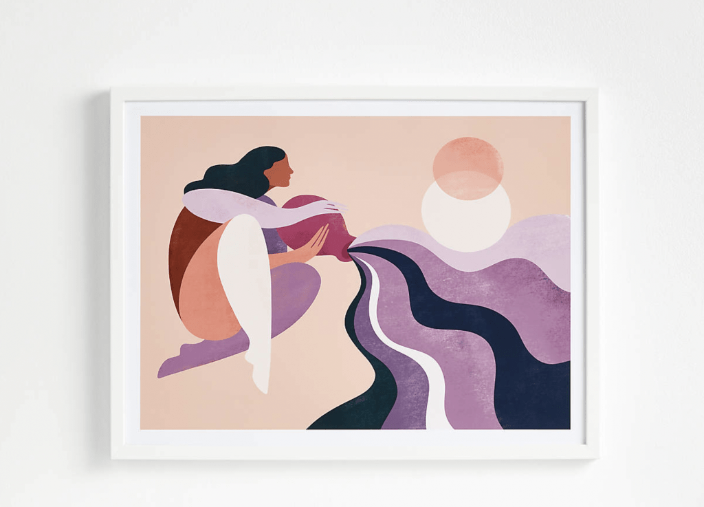 Print of woman with jar