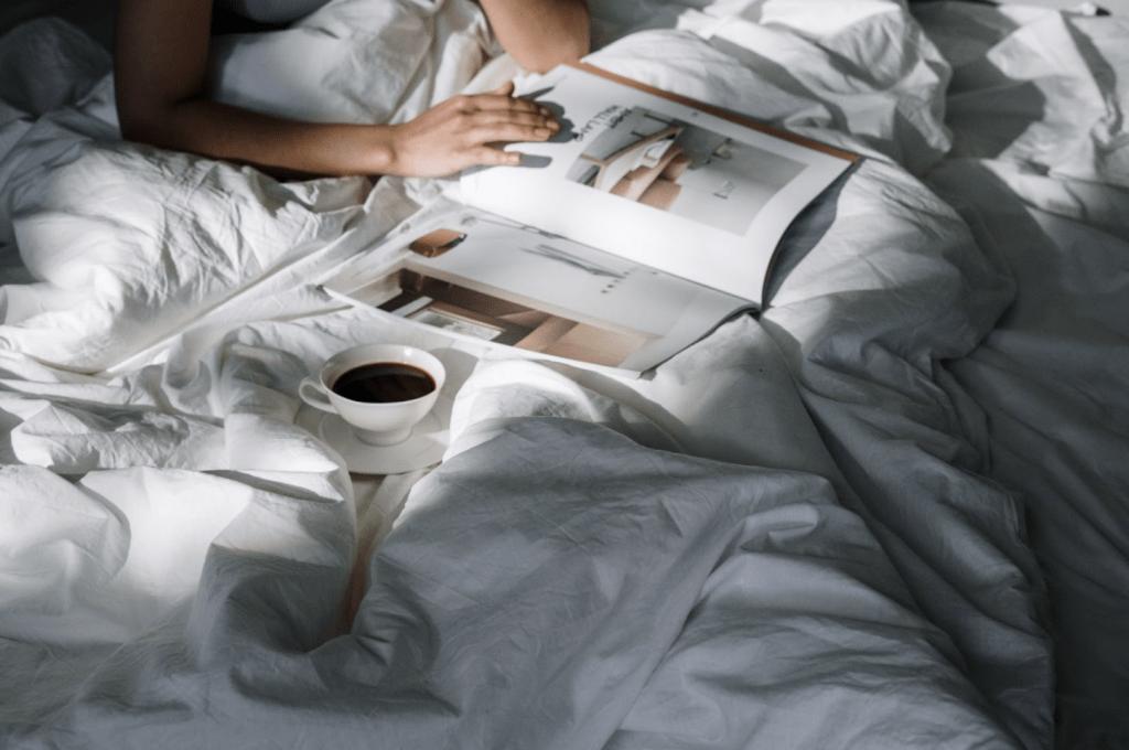 Magazine on bed