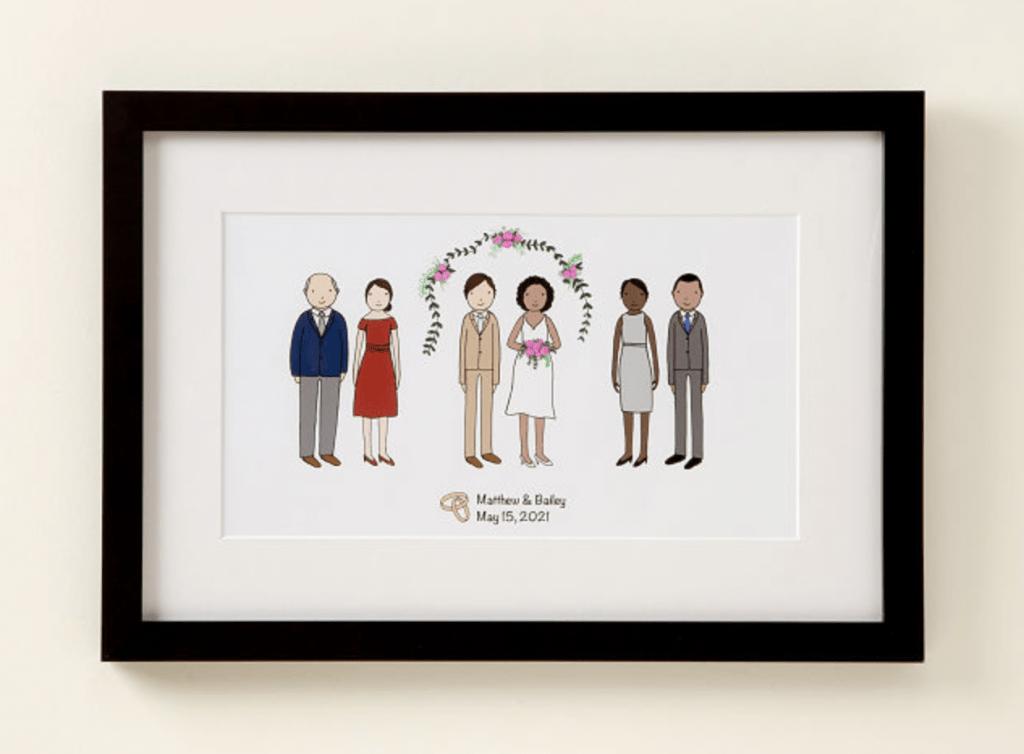 Framed wedding print