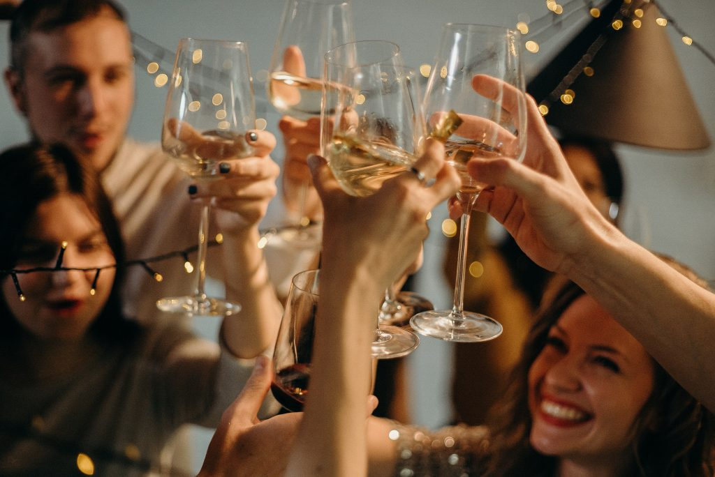 Wine lovers celebrating